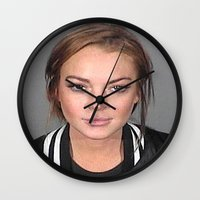 lindsay lohan Wall Clocks featuring Lindsay Lohan by Neon Monsters