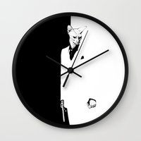 scarface Wall Clocks featuring Say hello to my little friend  by Psyca