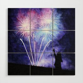 Blue and pink fireworks Wood Wall Art