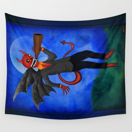 The Devil Appeared Growling Through An Old Megaphone Wall Tapestry