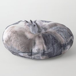 Magnificent Mountain Goat & Baby on Cliff's Edge Floor Pillow