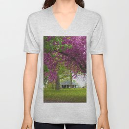 Cherry Blossom Trees in Richmond Unisex V-Neck