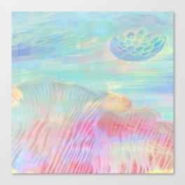 HOPSCOTCH SHRINE, a spaceship flying through a pastel art piece Canvas Print