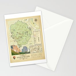 Yosemite National Park Map {Color Version} Print Stationery Cards