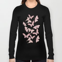 Butterfly Pattern soft pink pastel Long Sleeve T-shirt