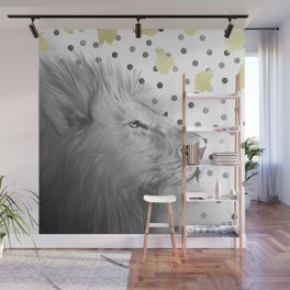 Silver Lion on Polka Dots Pattern Wall Mural