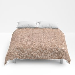 The Most Detailed Intricate Mandala (Brown Tan) Maze Zentangle Hand Drawn Popular Trending Comforters