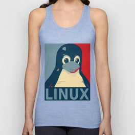 Linux tux Penguin poster head red blue  Unisex Tank Top