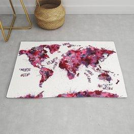 world map color splatter red Rug