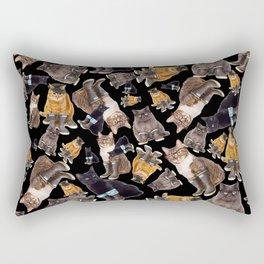 Tough Cats on Black Rectangular Pillow