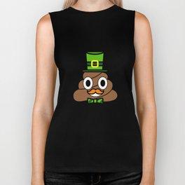 St Patricks Day Poop Emoji With Green Top Hat Pun Biker Tank