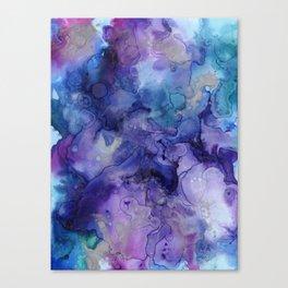 Abstract Watercolor Coastal, Indigo, Blue, Purple Canvas Print
