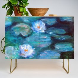 Blue Water Lilies Credenza