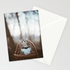 Cat in a basket Stationery Cards