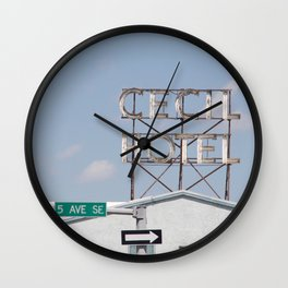 Cecil Hotel sign Wall Clock