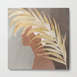 Woman with Golden Palm Leaf Metal Print