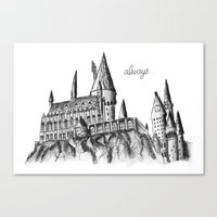hogwarts Canvas Prints featuring HOGWARTS by Danielle Ebro