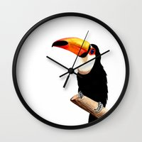 toucan Wall Clocks featuring Toucan by Bridget Davidson
