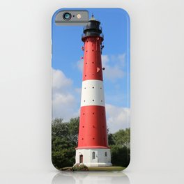 Red and White Lighthouse on Pellworm Island iPhone Case