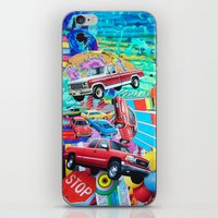 cars iPhone & iPod Skins featuring Cars by John Turck