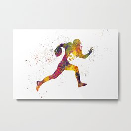 American football player in watercolor 14 Metal Print