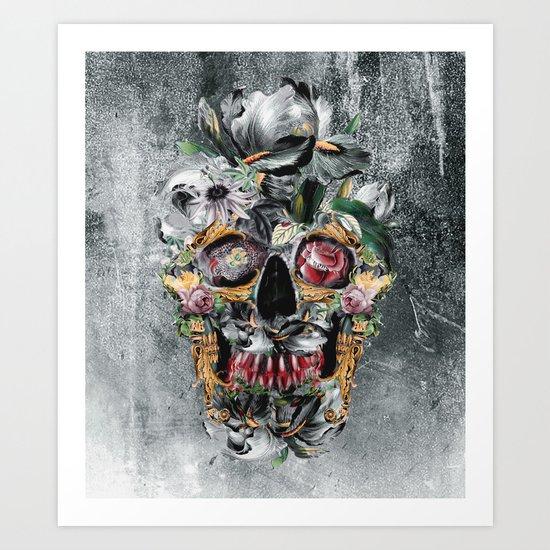 Skull on old grunge III Art Print