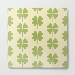 Seamless pattern with a leaf of clover Metal Print