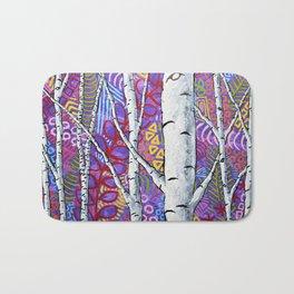 Sunset Sherbert Birch Forest by Mike Kraus-art birch aspen trees forests woods nature interior decor Bath Mat