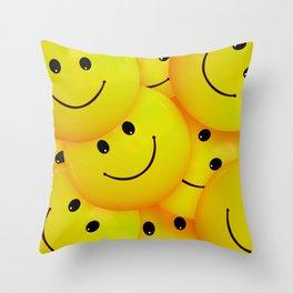 Fun Cool Happy Yellow Smiley Faces Throw Pillow
