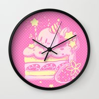 kirby Wall Clocks featuring Kirby Cake by Miski