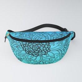 Flower Zen: Blue-Green Fade Fanny Pack