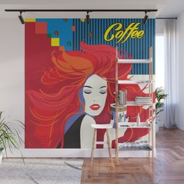 """Beautiful Fashion Woman and Coffee Cup"" POP-ART poster, Retro, Design Wall Mural"