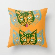 Mollycat Orange Throw Pillow