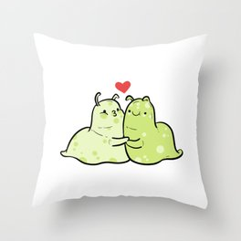 Slugs And Kisses In a Relationship Gift Throw Pillow