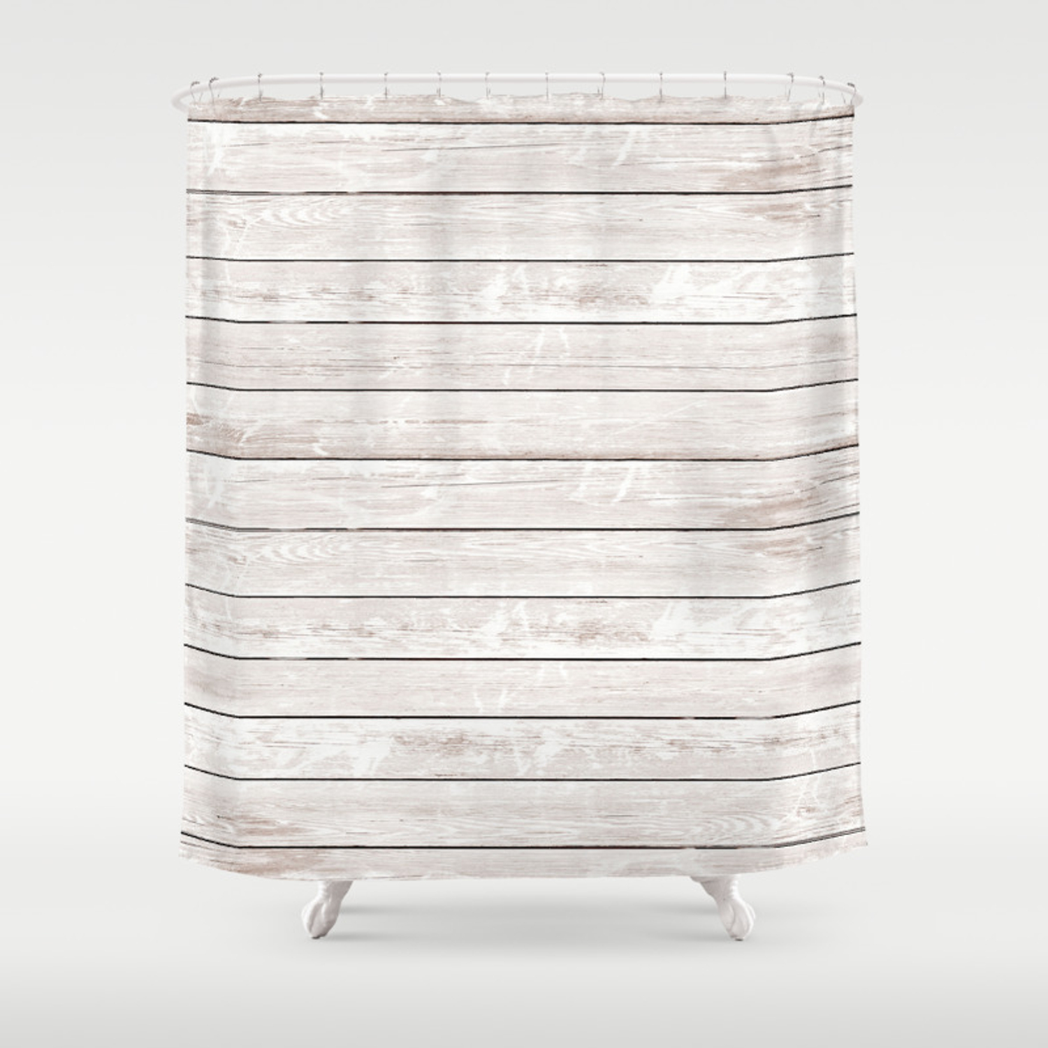 Rustic Ivory White Vintage Wood Shower Curtain