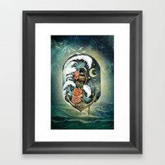 Navigate waves and stars Framed Art Print