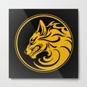 Yellow and Black Growling Wolf Disc by jeffbartels