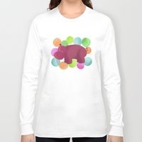 hippo Long Sleeve T-shirts featuring Hippo by Katy Welte