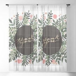 Thank you flowers and branches - sap green and pink Sheer Curtain