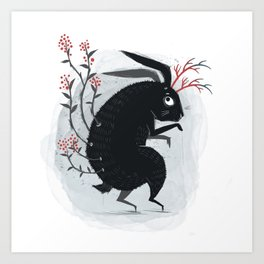 Surreal black bunny with poisonous berries and horns Art Print