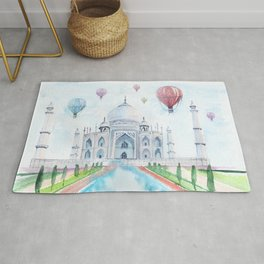 Taj Mahal air balloons watercolor Rug