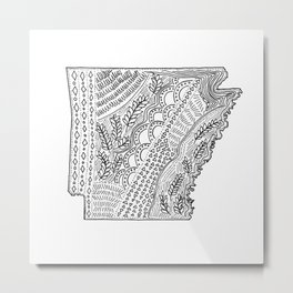 Arkansas State Map Illustration Metal Print