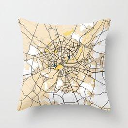 Caen Yellow City Map Throw Pillow