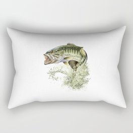 Bigmouth Bass Leaping to Freedom Rectangular Pillow