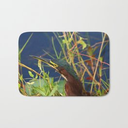 Green Heron Portrait Bath Mat