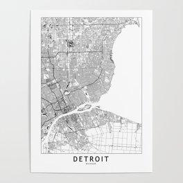 Detroit White Map Poster