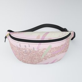 Abstract pink ivory girly glitter brushstrokes Fanny Pack