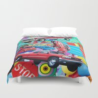 cars Duvet Covers featuring Cars by John Turck