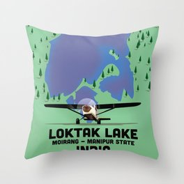 Loktak Lake Manipur state Indian travel poster. Throw Pillow