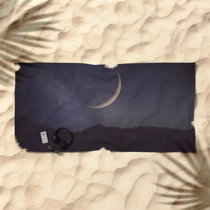 Moon and stars landscape Beach Towel